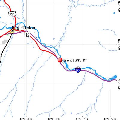 Greycliff, MT map