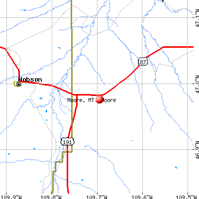 Moore, MT map