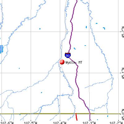 Wyola, MT map