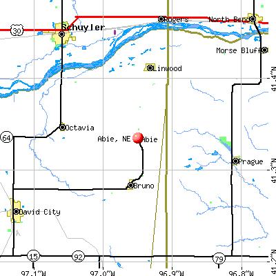 Abie, NE map