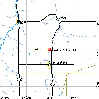Bazile Mills, NE map