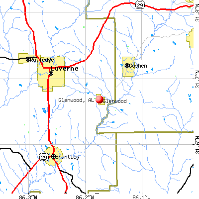 Glenwood, AL map