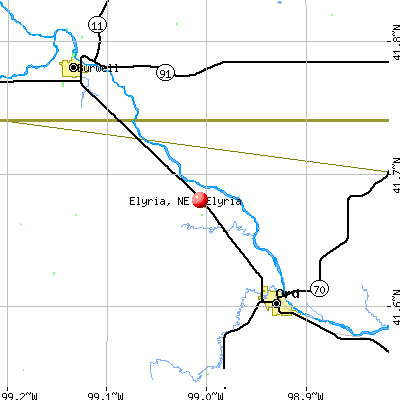 Elyria, NE map