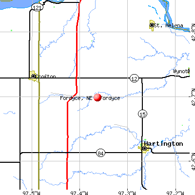 Fordyce, NE map
