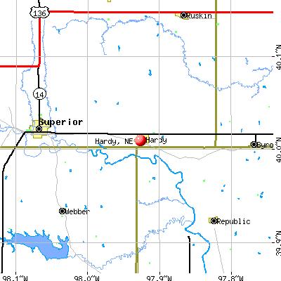 Hardy, NE map