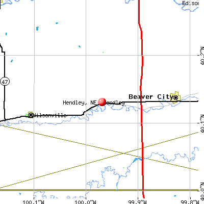 Hendley, NE map