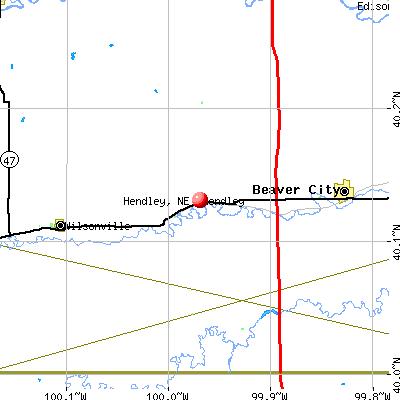 Hendley, NE map