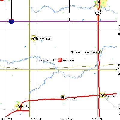 Lushton, NE map
