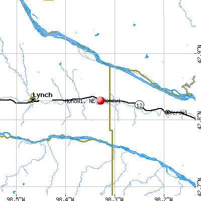 Monowi, NE map