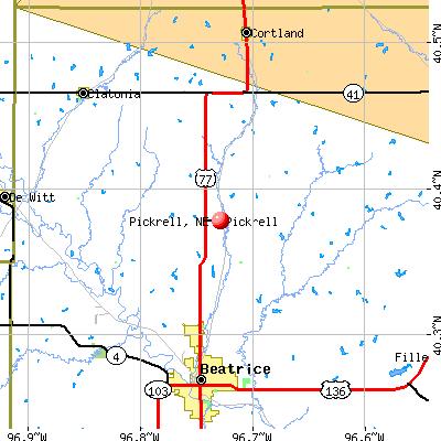 Pickrell, NE map