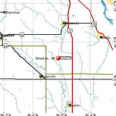 Rosalie, NE map