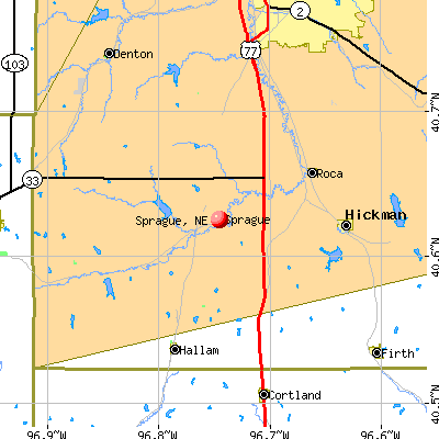 Sprague, NE map