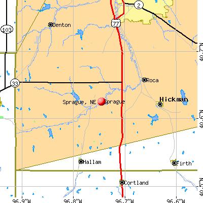 Sprague, NE map