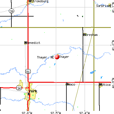 Thayer, NE map