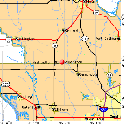Washington, NE map