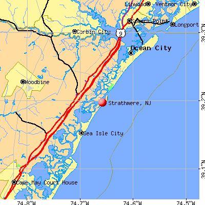 Strathmere, NJ map