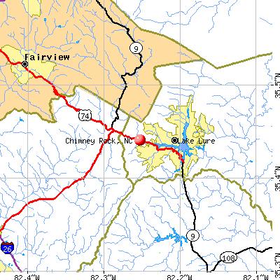 Chimney Rock, NC map