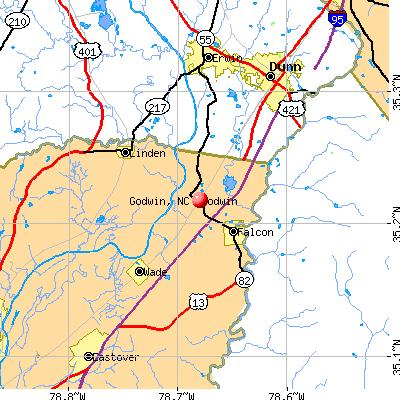 Godwin, NC map