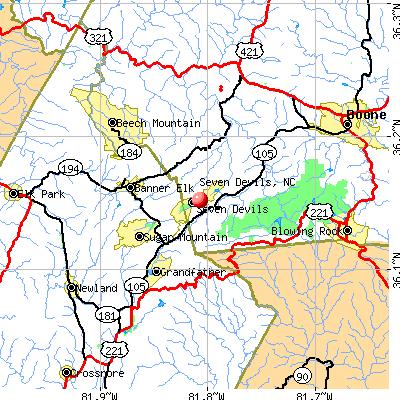 Seven Devils, NC map