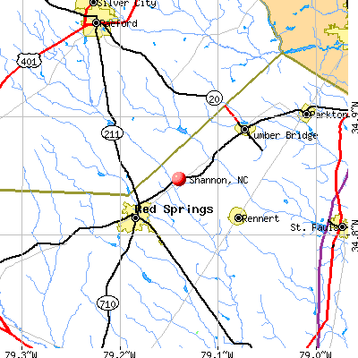 Shannon, NC map