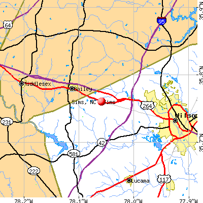 Sims, NC map