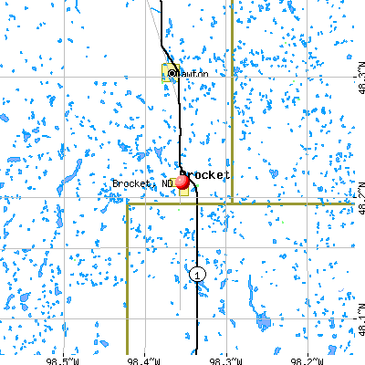 Brocket, ND map
