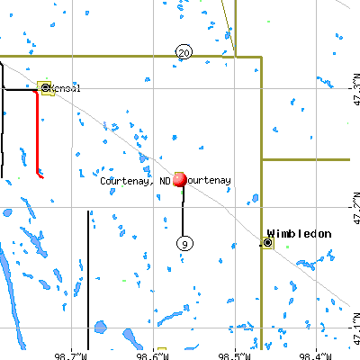 Courtenay, ND map
