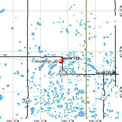 Goodrich, ND map