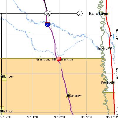 Grandin, ND map