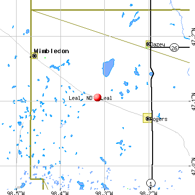 Leal, ND map