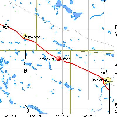Martin, ND map