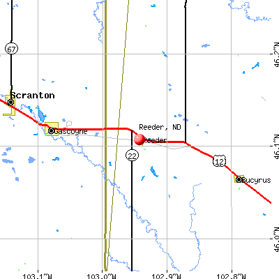 Reeder, ND map