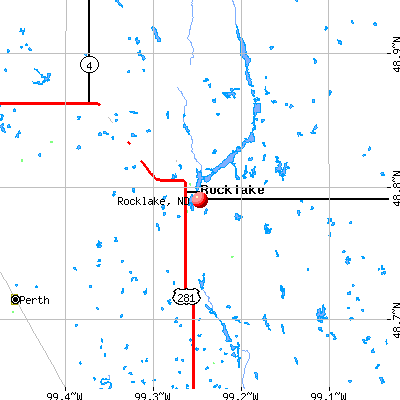 Rocklake, ND map