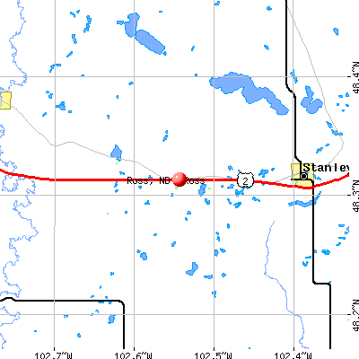 Ross, ND map