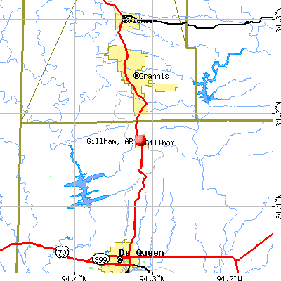 Gillham, AR map