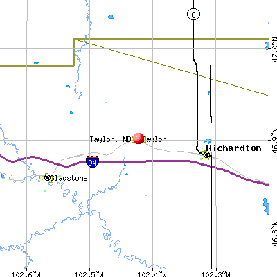 Taylor, ND map