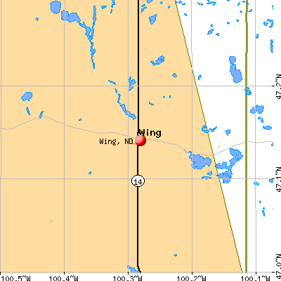 Wing, ND map