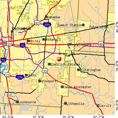 Brice, OH map