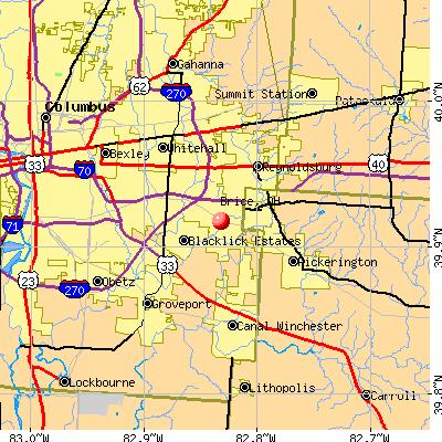 Brice, OH map