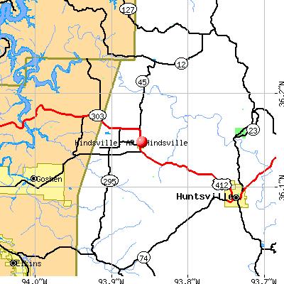 Hindsville, AR map