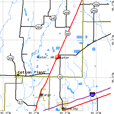 Hunter, AR map