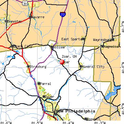 Zoar, OH map