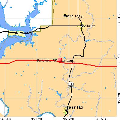 Burbank, OK map