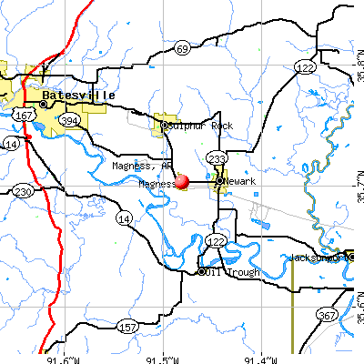 Magness, AR map