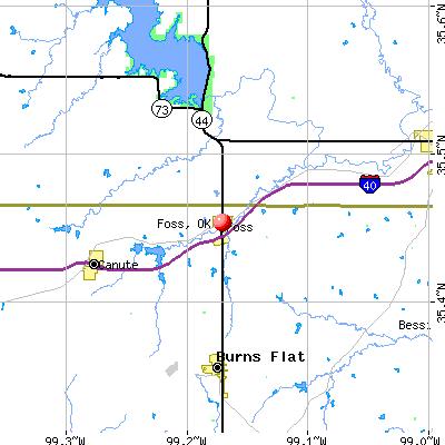 Foss, OK map