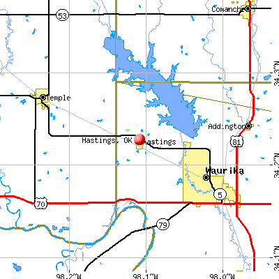 Hastings, OK map