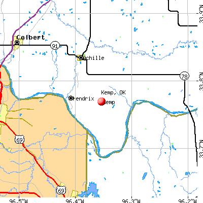 Kemp, OK map