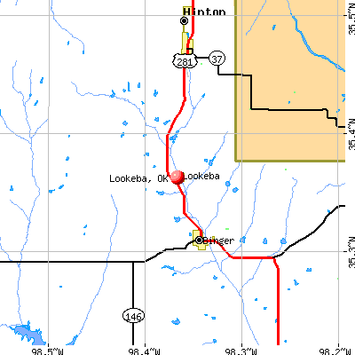 Lookeba, OK map