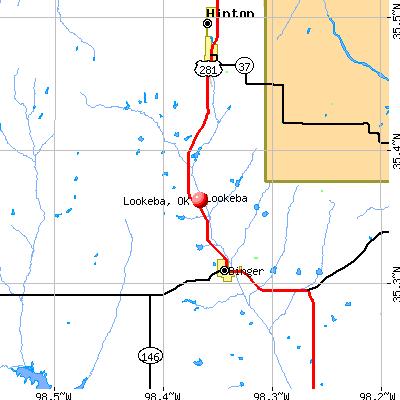 Lookeba, OK map