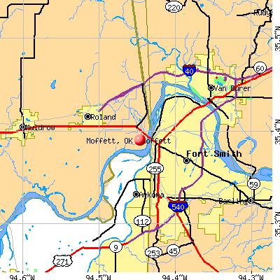 Moffett, OK map